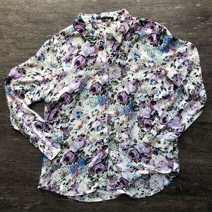 T Tahari lavender floral button up